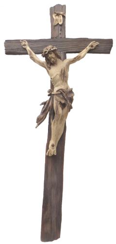 geschnitzte Kreuz mit Corpus Altholz